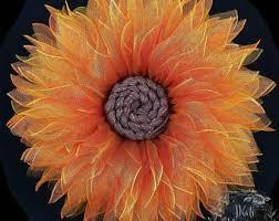 Sunflower Mesh Wreath Mesh Flower Wreath Etsy