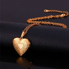 valentines necklace gift heart locket necklace 18k real gold platinum plated