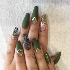 somethings about nail art rhinestone green khaki gold gems coffin nails nail art pinterest coffin