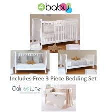 Sleigh Cot Bed White 4baby Sleigh Cot Bed Mattress U0026 3 Pc Bedding Bale