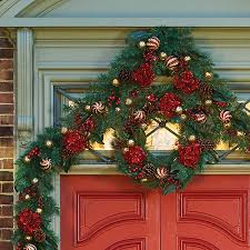 Pre Decorated Christmas Garland 6 U0027 Pre Lit Holiday Hydrangea Christmas Garland Improvements Catalog