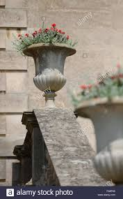 ornamental planters on the stair balustrade on the south front at