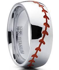 baseball wedding band titanium sports baseball ring wedding band with stitching