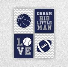 Sports Nursery Wall Decor Sports Nursery Wall Print Set Light Blue Navy Gray Chevron