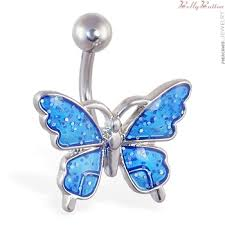 blue butterfly rings images Glittery blue butterfly belly button ring jpg