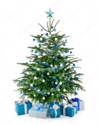 christmas tree in blue and silver with gift boxes u2014 stock photo