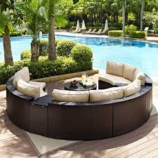 Patio Furniture Wicker Crosley Catalina 6 Piece Outdoor Wicker Curved Conversation Set