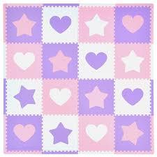amazon com tadpoles 16 sq ft hearts and stars playmat set pink