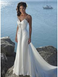 neck straps beaded satin beach destination wedding dress prlog