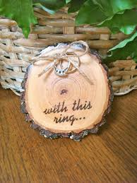 Wedding Ring Holder by Rustic Wedding Ring Holder Wood Slice Ring Bearer Pillow With This