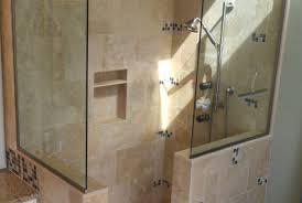 small doorless shower u0026 trendy mosaic tile bathroom photo in san