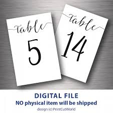 modern table numbers table numbers printable 4x6 classic wedding table number 1 30