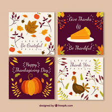 pack of thanksgiving greeting cards vector free