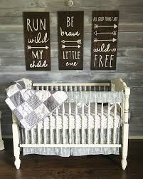 Rustic Nursery Decor Woodland Theme Nursery Gender Neutral Grey And White Rustic