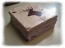 rustic coaster set deer head on stone tiles deer hunting deer