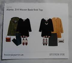 le lis le lis alante 3 4 woven back knit top stitch fix review february