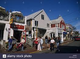 massachusetts cape cod provincetown commercial street shops stock