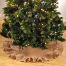 burlap tree skirt fennco styles décor ruffle trim jute burlap