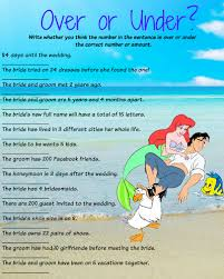 bridal shower groom questions bridal shower over or under game little mermaid themed for heidi