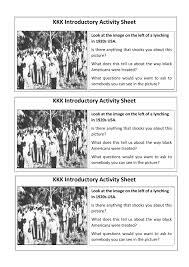 kkk ku klux klan gcse introductory activity lesson worksheet