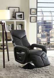 Swivel Recliner Chairs by Homelegance Diem Swivel Reclining Chair Black Bonded Leather