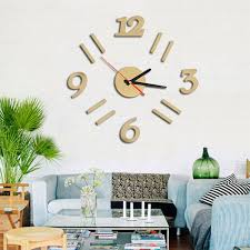 modern 3d wall clock mirror design surface sticker home office