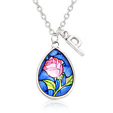 her story necklace images Buy fairy tale beauty and the beast rose cabochon jpg