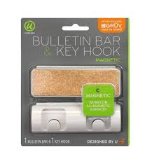 u brands gruv magnetic bulletin bar with key hook 1 5 in x 4 25