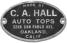 Upholstery Oakland Ca C A Hall Hall Auto Top Shop Hall U0027s Top Shop Calvin A Hall
