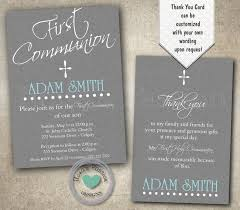 First Communion Invitations Cards Boy First Communion Invitation Grey 1st Communion Invitation