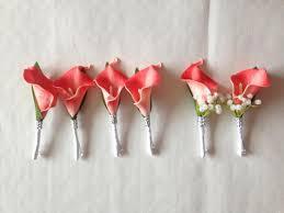 coral boutonniere grooms coral boutonnière calla wedding boutonnière for