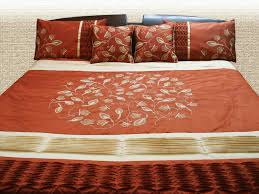 Earthy Orange Modern Quilted And Embroidered Duvet Cover In Earthy Rust And