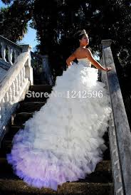 puffy colored bridal ball gowns long train backless sweetheart