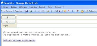 outlook message absence bureau réponse automatique avec outlook 2003