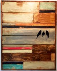 large reclaimed wood wall home decor birds on wire distressed