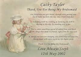 matron of honor poem personalised bridesmaid of honour flower girl thank you