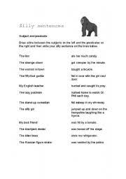 english worksheets silly sentences subjects and predicates