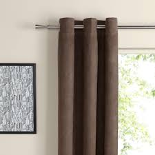 Chocolate Curtains Eyelet Suedine Chocolate Plain Woven Eyelet Curtains W 228 Cm L 228 Cm