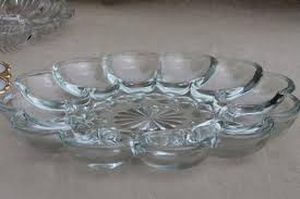 deviled egg plates glass egg plates clear glass deviled egg trays milk glass