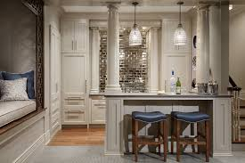 mirror backsplash in kitchen mirror backsplash home bar traditional with mirror subway tile