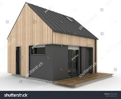 small modern prefabricated house exterior view stock illustration