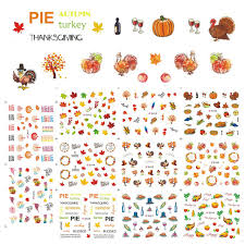 new 11 designs in one set thanksgiving day nail 3d stickers