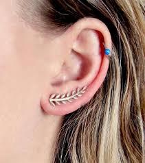 ear climber earring sterling silver leaf ear climber earrings high5humans fair