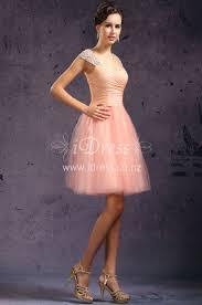luxury beads cap sleeve a line blush pink tulle cocktatil dress