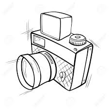 cartoon black and white sketch of a photo camera royalty free
