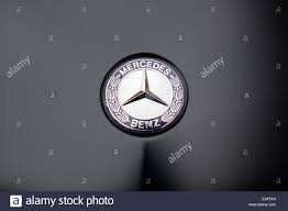 mercedes logo mercedes benz automobile bonnet logo close up view stock photo