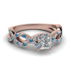 heart shaped wedding rings princess cut infinity diamond ring with blue topaz in 14k