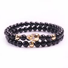 skull crystal bracelet images Double layer shining black beads bracelet men multilayer 6mm jpg