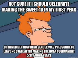 Sweet 16 Meme - not sure if i should celebrate making the sweet 16 in my first year