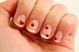 sharp dressed nails french manicure with hearts valentine nails